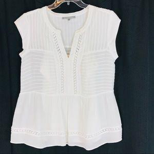 DANIEL RAINN White Sleeveless Top Crochet Insets S
